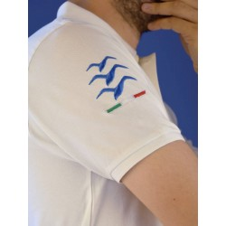 Embroidered white gliding polo