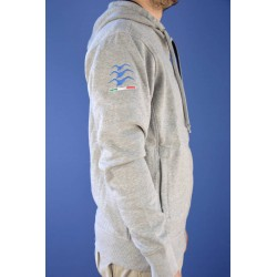"Embroidered grey ""gliding"" hoodie"