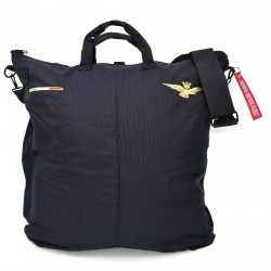 Flight helmet bag with shoulder belt - black. Embroidered with Italian Air Force badge