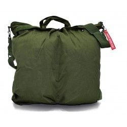 Flight helmet bag with shoulder belt - green
