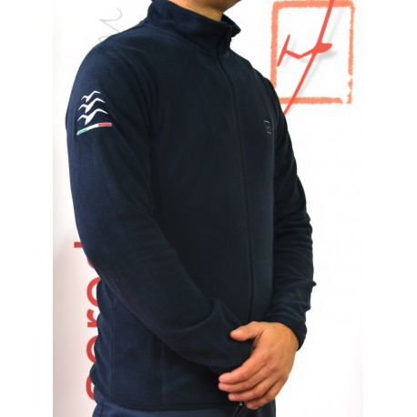 """Embroidered blu navy """"gliding"""" micro pile"""