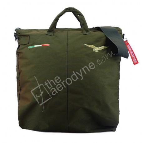 Flight helmet bag with shoulder belt - green. Embroidered with civilian pilot eagle