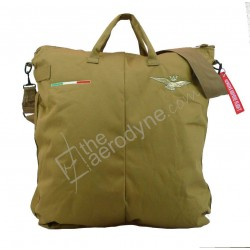 Flight helmet bag with shoulder belt - desert tan. Embroidered with Italian Air Force badge