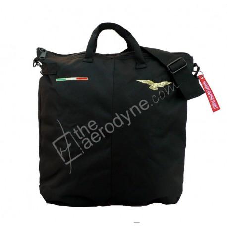 Borsa portacasco da volo nera con tracolla - ricamate con Aquila pilota civile